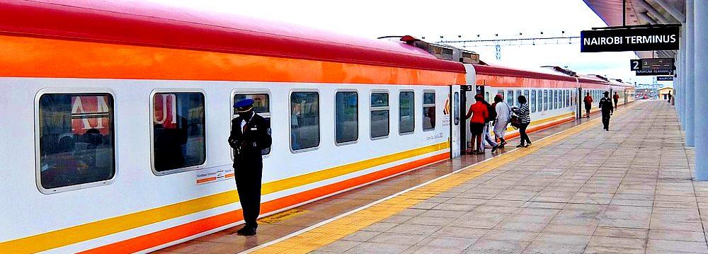A platform at the Nairobi Terminus of the Standard Gauge Railway
