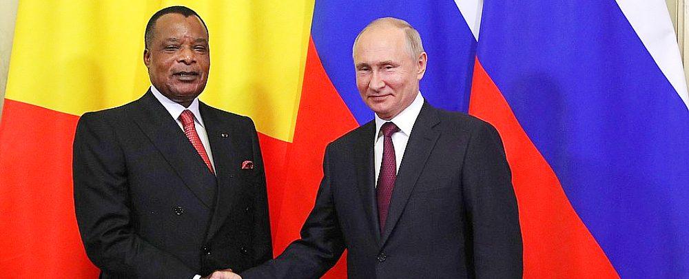 Republic of Congo President Denis Sassou Nguesso and Russian President Vladimir Putin